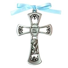PRAYING BOY CRIB CROSS - BLUE