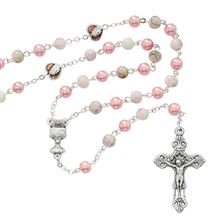 PINK MARBLE FIRST COMMUNION ROSARY
