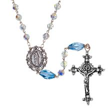 ICE BLUE SWAROVSKI CRYSTAL ROSARY