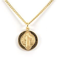 ST. BENEDICT MEDAL - 16KT GOLD OVER STERLING