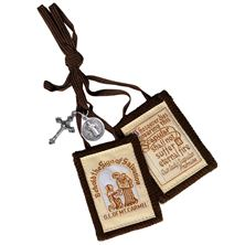 SCAPULAR OF MT. CARMEL WITH MEDALS - BROWN CORD