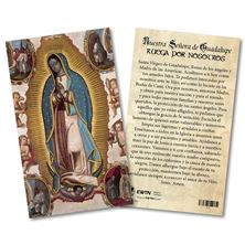 VIRGIN OF GUADALUPE LAMINATED SPANISH HOLY CARD
