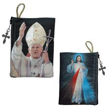 DIVINE MERCY and ST. JOHN PAUL II - ROSARY POUCH