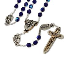 BLUE BOHEMIAN GLASS FEMALE WARRIOR ROSARY