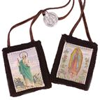 100% BROWN WOOL SCAPULAR (GUADALUPE/JUDE)