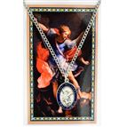 ST. MICHAEL PENDANT WITH ENAMEL AND PRAYER CARD