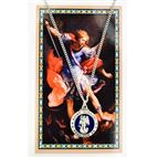 ST. MICHAEL ROUND ENAMELED PENDANT WITH PRAYER CARD